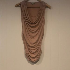 Peach tank top with side rouching